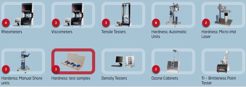 Laboratory Instruments for rubber, polyurethane, elastomer and plastic testing.